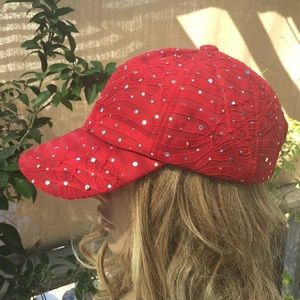 Red Sparkly Baseball Hat